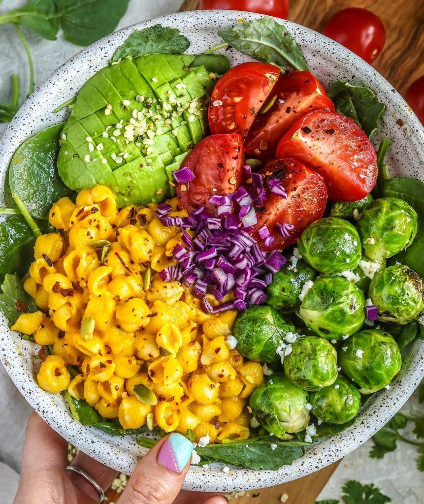 Tazón de vegetales y pasta