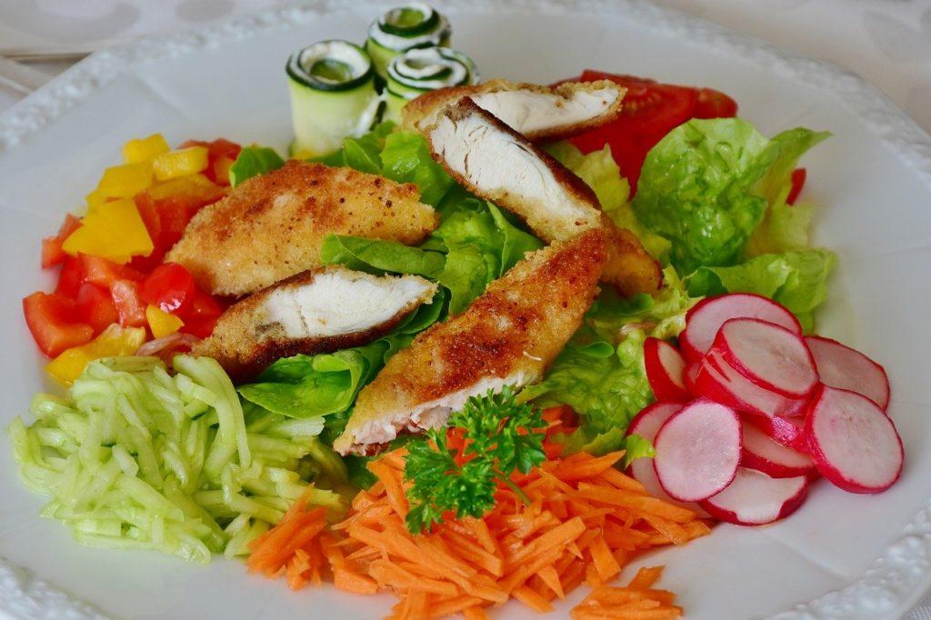 Con pollo y vegetales