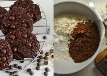 Receta de galletas de chocolate y avena