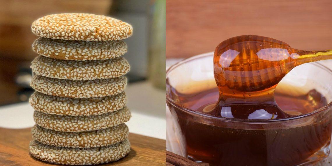 Receta de galletas de miel y sésamo con harina de almendras