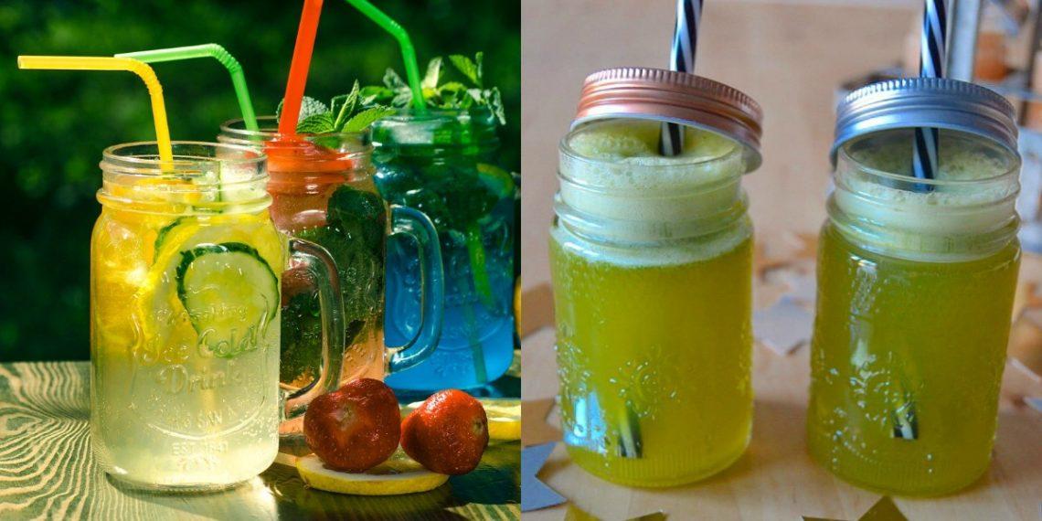 Bebida o jugo de limón y hierbabuena