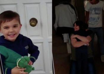 Niño de 4 años se reencuentra con sus padres en Inglaterra