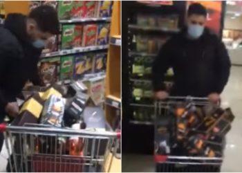 un minuto feliz en supermercado