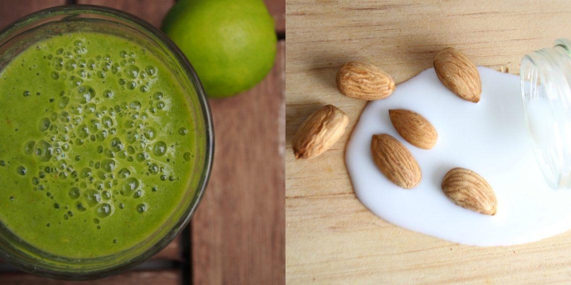 Bebidas saludables con leche de almendras casera