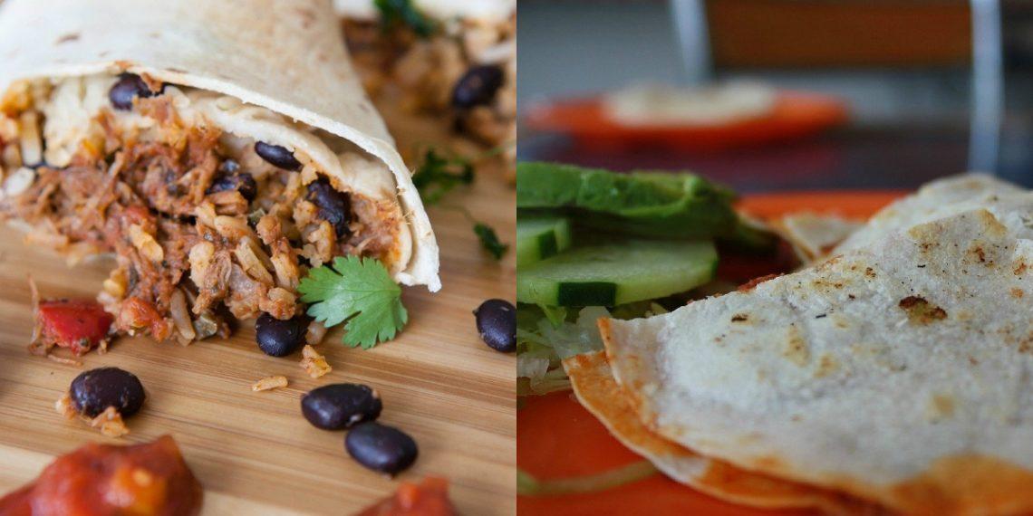 Receta de tortilla integral con harina integral para wraps, enrollados o burritos