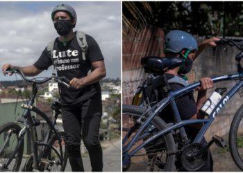 El profesor de ciencias Arthur Cabral, de 29 años, camina con su bicicleta en el barrio de Vila da Fabrica mientras entrega versiones impresas en PDF de libros de texto a sus alumnos. Foto AFP