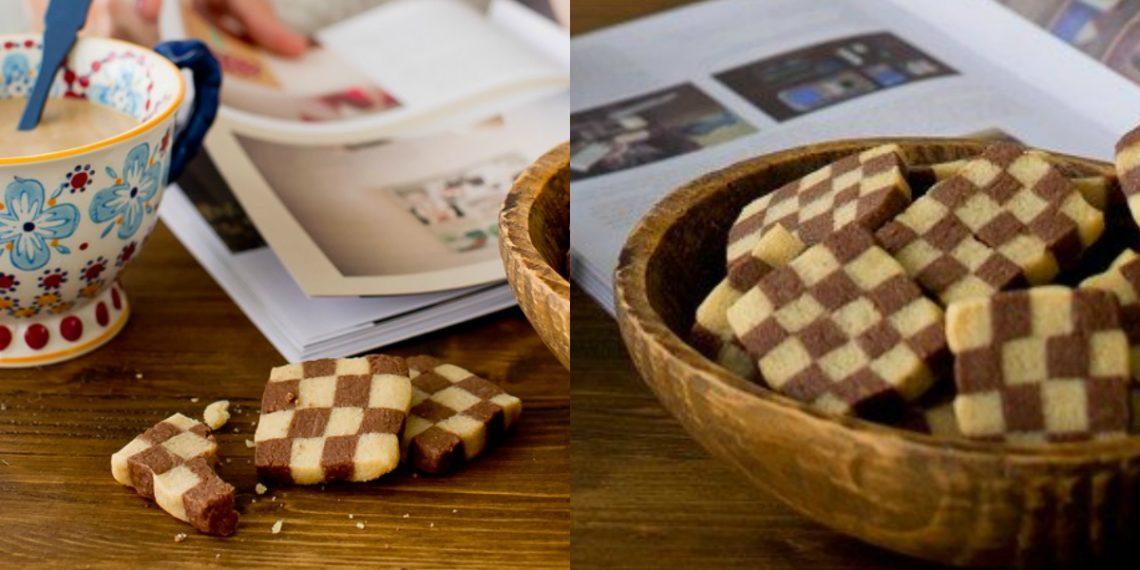 Galletitas dulces, saludables y caseras en forma de ajedrez
