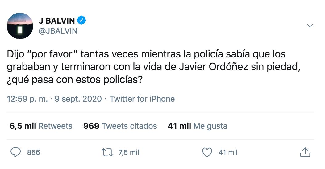 J Balvin habla sobre Javier Ordóñez