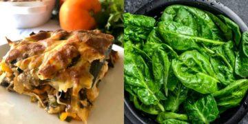 Preparación de la receta de lasaña de verduras con espinacas