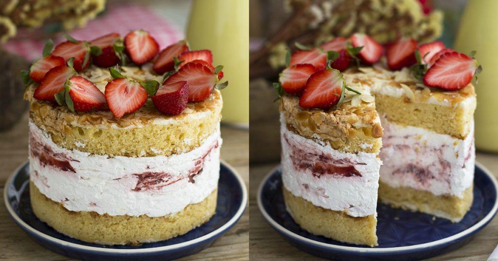 Biscocho relleno al mejor estilo de una tarta cheesecake
