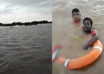 El angustiante rescate en la India a hombre en medio de una inundación