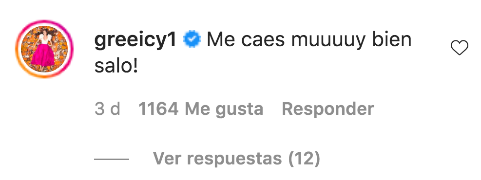 Greeicy Rendón comentario