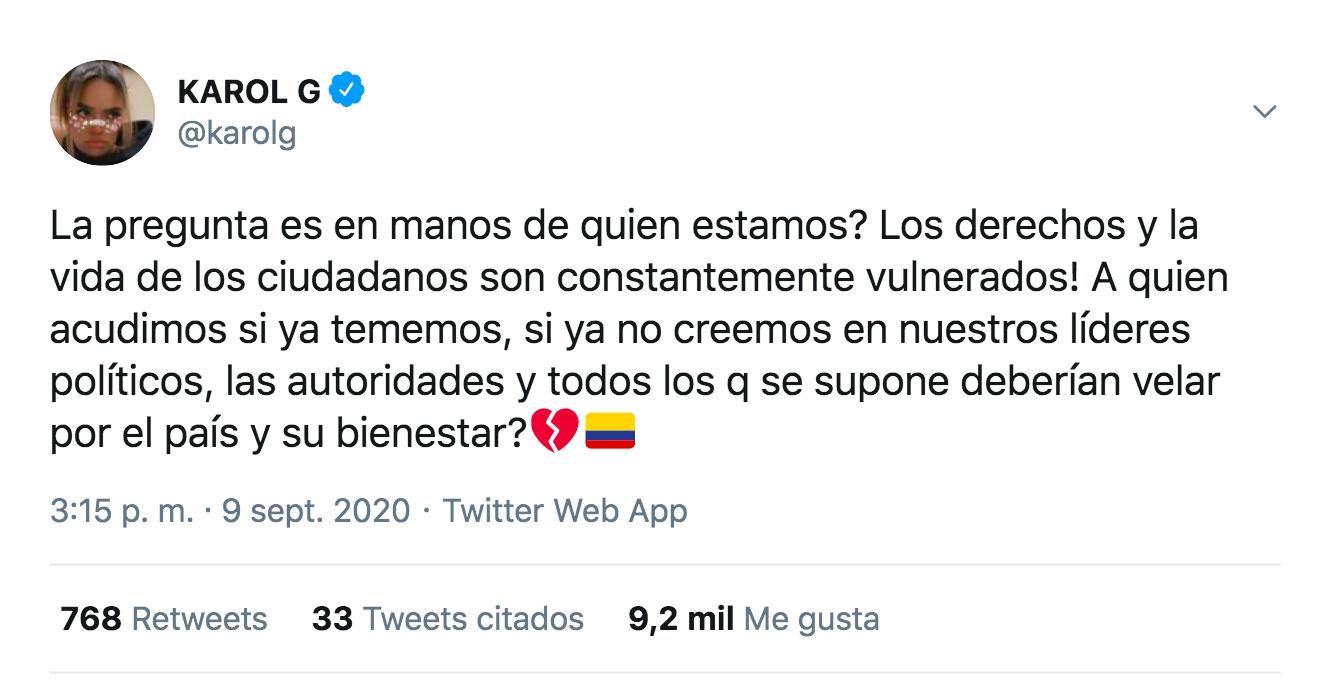Karol G comentario sobre Javier Ordóñez