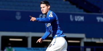 El primer gol de James Rodríguez con el Everton y en la Premier League