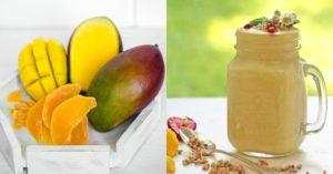 Smoothie à l'avoine, à la mangue et au lait