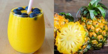 Licuado de piña con mango y plátano para tomar entre comidas