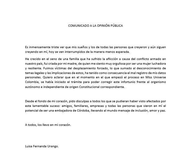Comunicado Luisa Arango