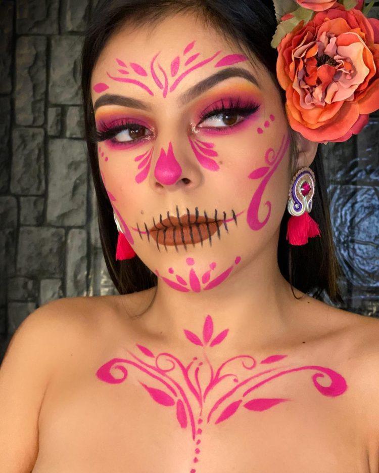 maquillaje de catrina en rosa