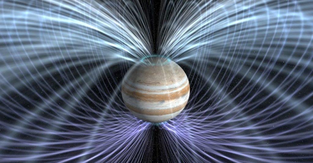 Representación del campo magnético de Júpiter