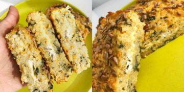 Receta de budín de pan casero con arroz y verduras