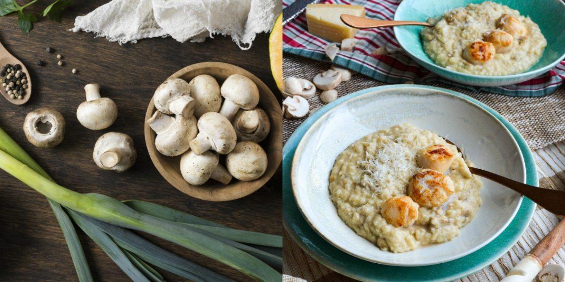 Receta de risotto con champiñones (arroz)