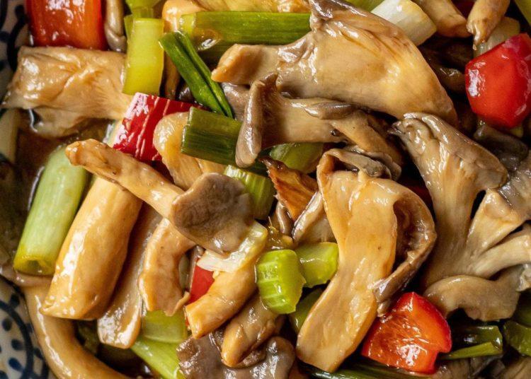 Salteado de champiñones con vegetales