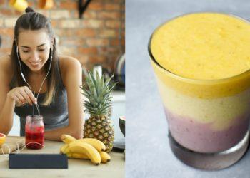 Batido de frutas casero con fresa, plátano, piña y leche