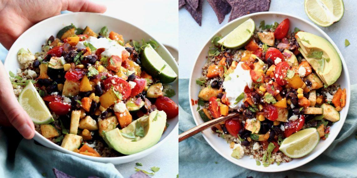 Receta de ensalada de quinoa y aguacate con granos