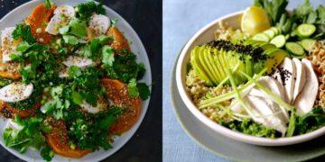 Ensaladas con pollo livianas y verdes hechas con pechuga