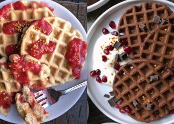 Receta de waffles saludables y dulces con banana, vainilla y chocolate