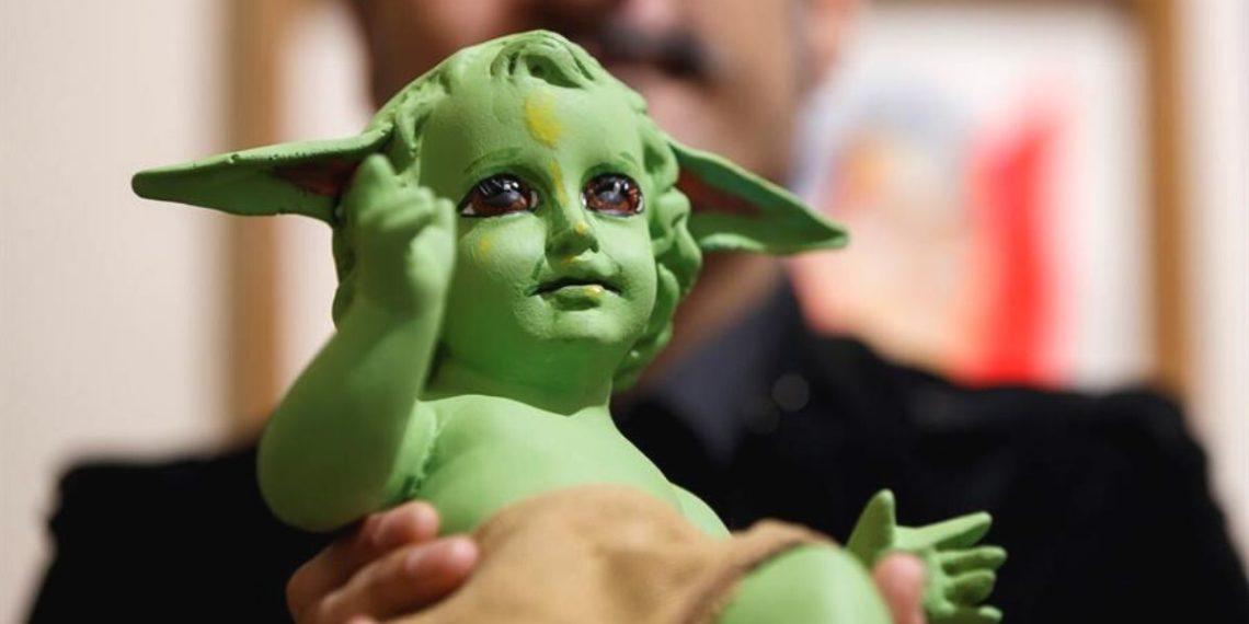 Artista crea una imagen del Niño Dios Baby Yoda