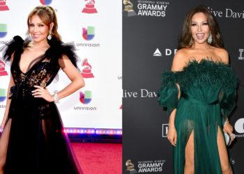 Imágenes de la cantante Thalía haciendo ejercicios de flexibilidad con 49 años