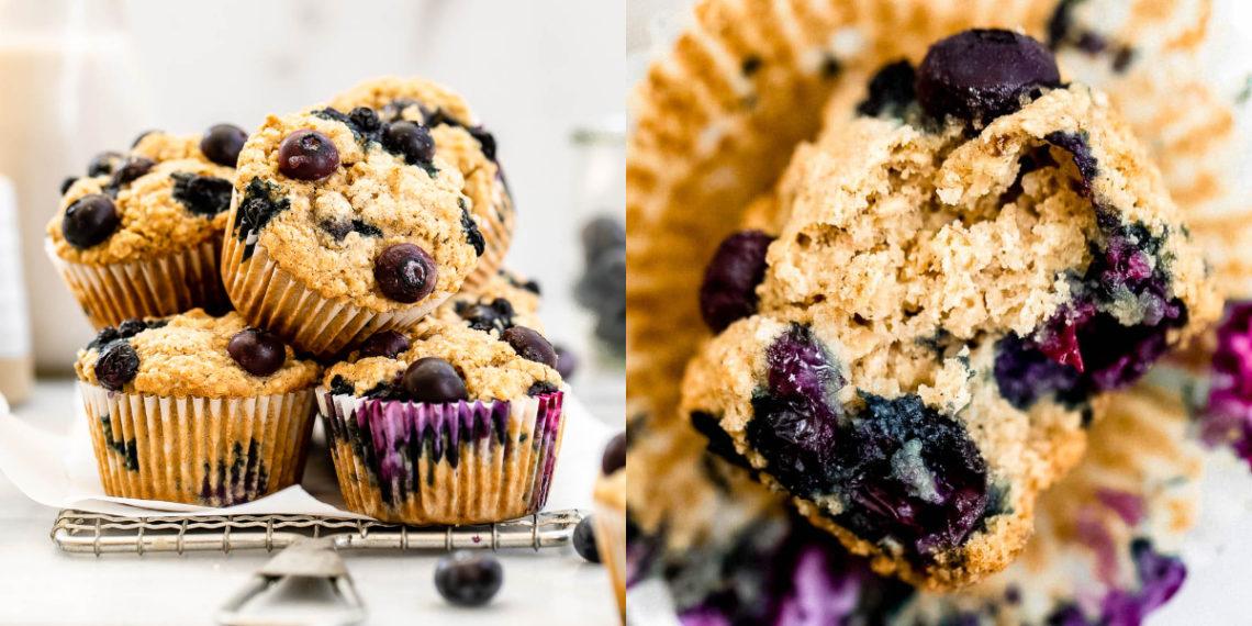 Muffins de arándanos saludables con avena