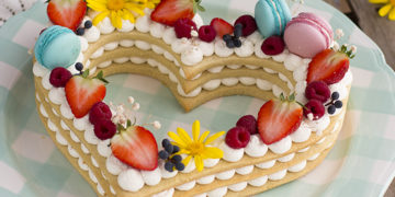 Receta para hacer pastel de corazón, letras y números