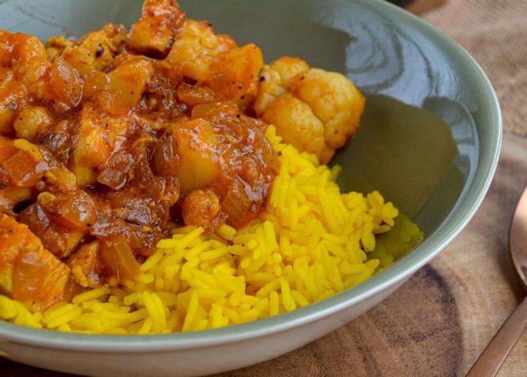 Con arroz y coliflor