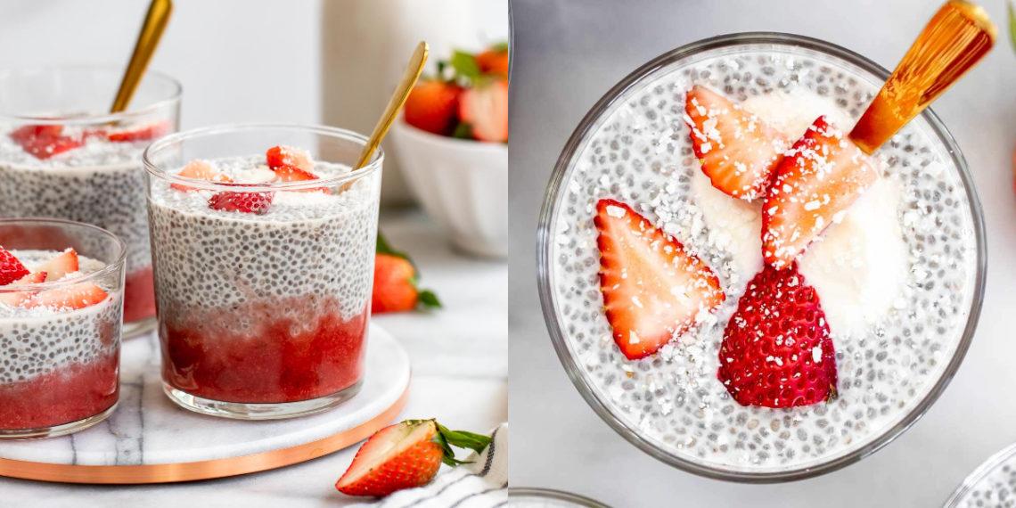 Receta de pudding de chía con fresas y coco