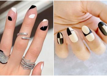 uñas en blanco y negro