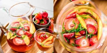 Cómo hacer la receta de sangría de fresa y melocotón