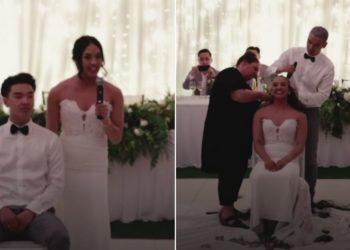En plena boda, pareja se rapa la cabeza para apoyar a la madre de la novia