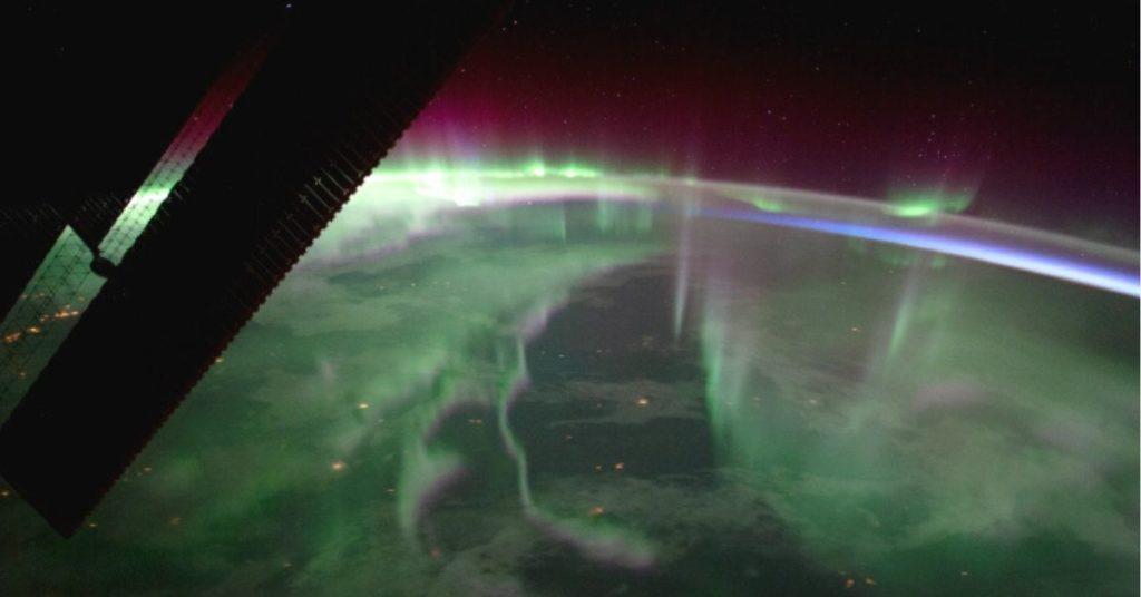 Aurora boreal captada desde la estación espacial