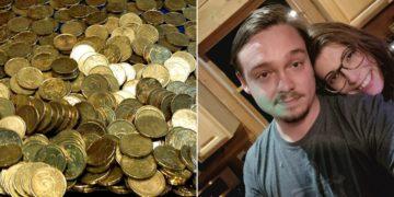 Andreas Flaten recibe montaña de monedas como liquidación