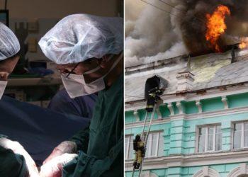 Médicos realizan operación a corazón abierto en medio de un grave incendio en un hospital