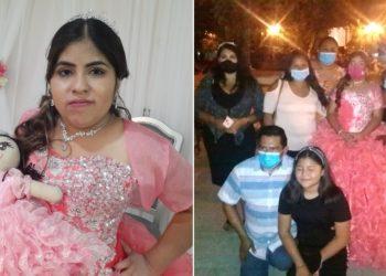 Joven quinceañera Nancy Ortiz comparte la comida de su fiesta con los migrantes.