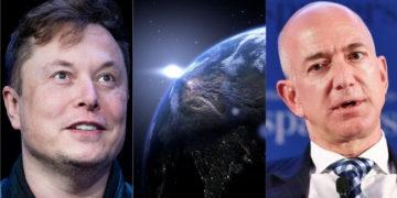 multimillonarios Elon Musk y Jeff Bezos y la disputa por el espacio