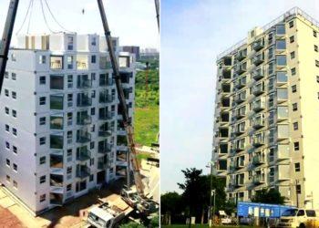Construyen edificio de 10 pisos en menos de 29 horas en China
