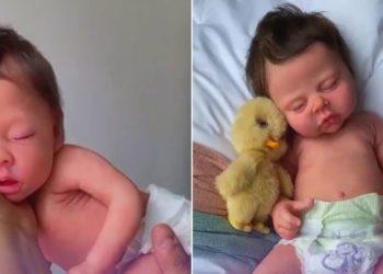 Mujer fabrica impresionantes muñecos de silicona que parecen bebés reales